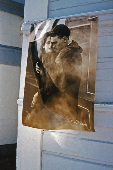 image from Left Behind series: old poster of a couple embracing with the caption La Liaison