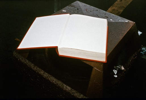 image from Left Behind series: discarded book lying open on a stool