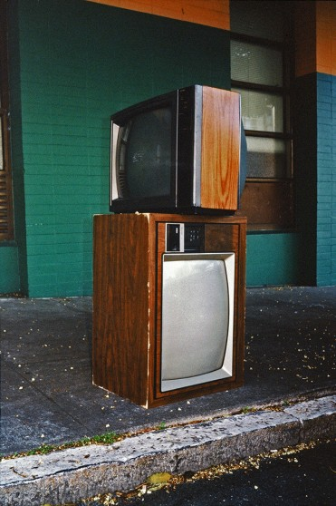 image from Left Behind series: stacked televisions on the street