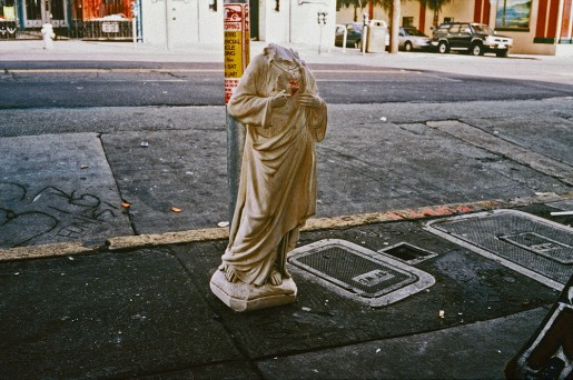 image from Left Behind series: statue of Jesus with the head broken off